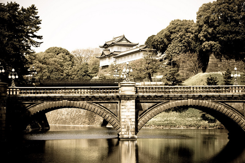I probably spend too much time in Adobe Lightroom, but they're my pictures, right? This is the famous Nijubashi Bridge, which spans the Imperial Moat.