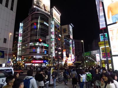 Nighttime in Shinjuku.