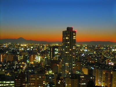 Shinjuku lights and Mt Fuji from the hotel room.