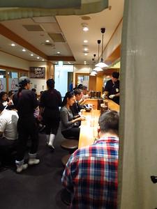 Patty settling in at the counter at Rokurinsha.