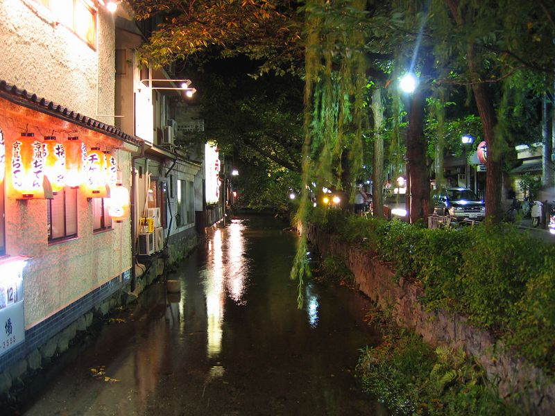 Part of Kyoto's happening, traditional and contemporary night life area borders a river. It's just across from my hotel.