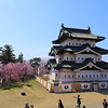 Hirosaki - Cherry blossom at Hirosaki-jo Castle - Donjon in the center of Honmaru (本丸) (moved to the current spot in the summer of 2015 for reconstruction of stone wall)