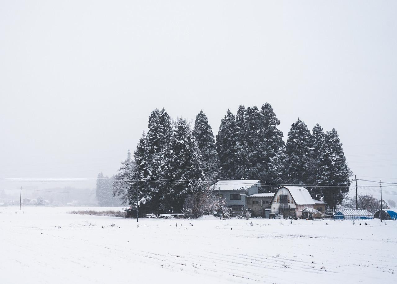 Japanese Farm House In Snowy Akita