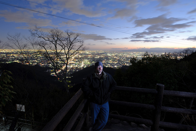 Here comes the good light we missed in Nagasaki. Oliver is shining my LED flashlight on me.