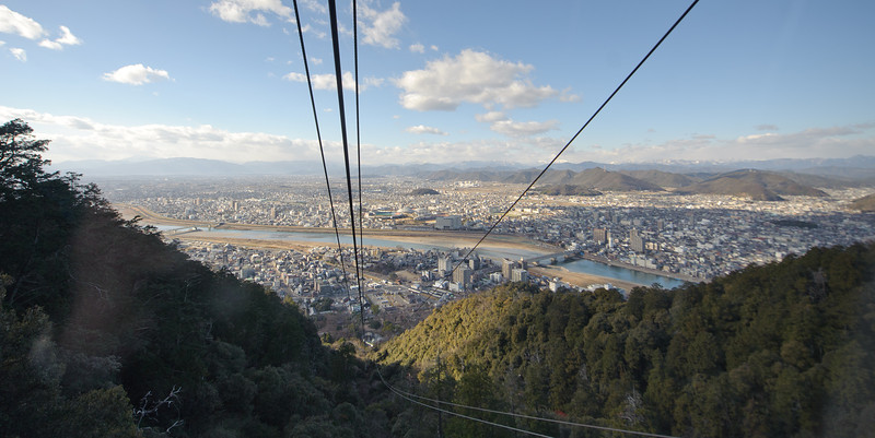 Heading up the ropeway to Gifu Castle.