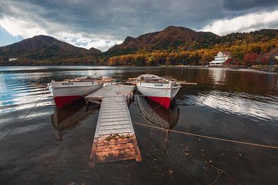 Boats On Lake Haruna In Autumn