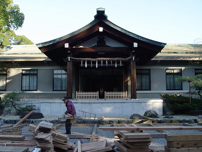 This shrine is undergoing renovation.