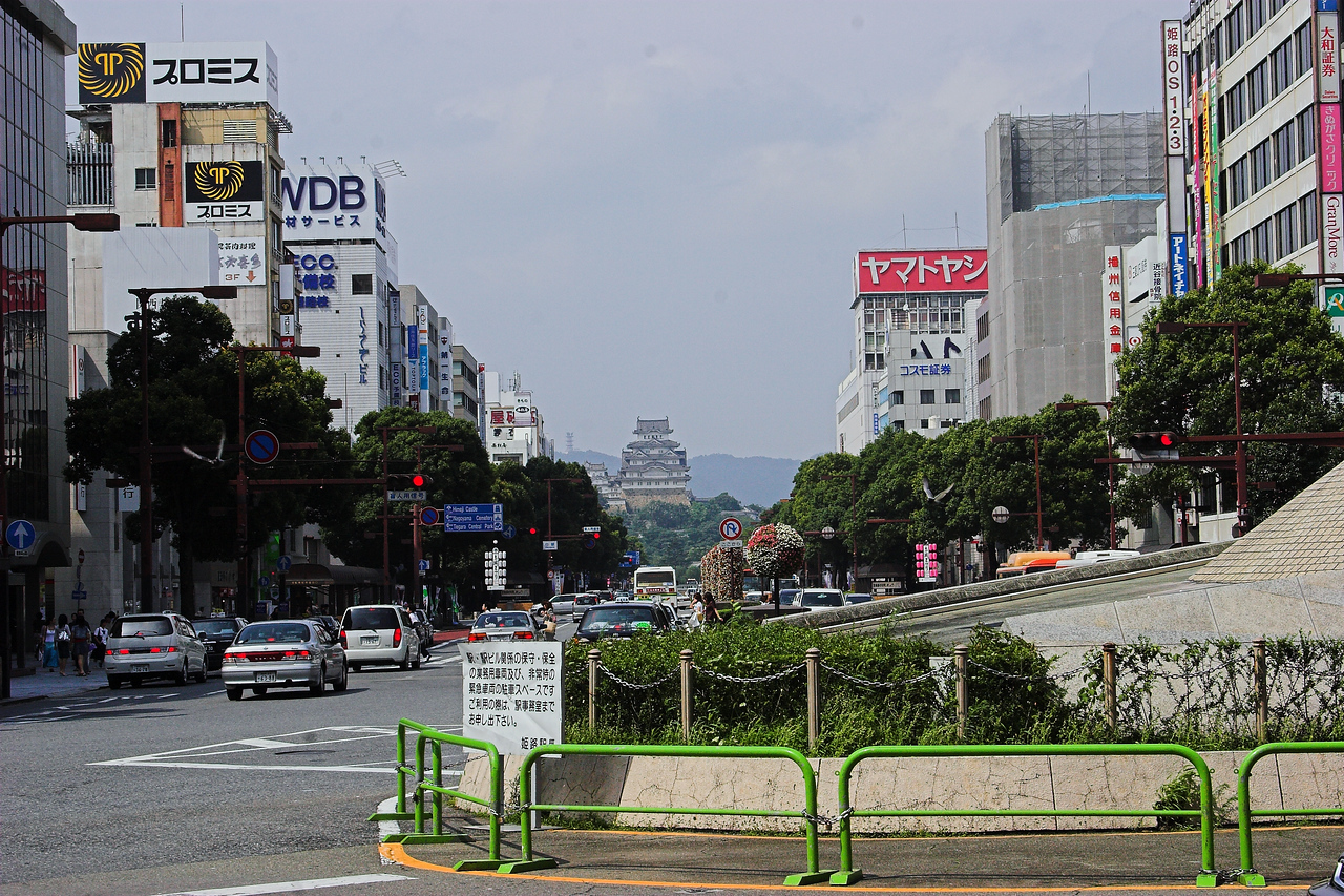Downtown Himeji - looking from the bus/train station up the avenue to the castle.