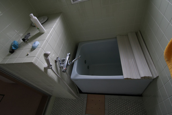 In Japan, the shower and bath are in seperate rooms. Makes sense I guess.