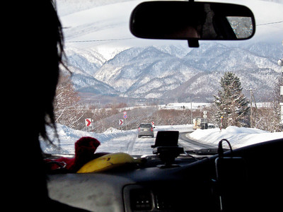 Driving out to Furano with Austin and Shiba for day of snowboarding!