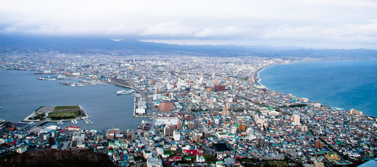 A view of Hakodate from the top of Hakodate mountain.