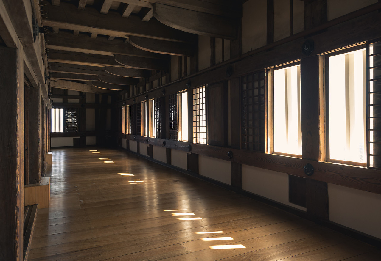 Window Lit Hallway at Himeji Castle