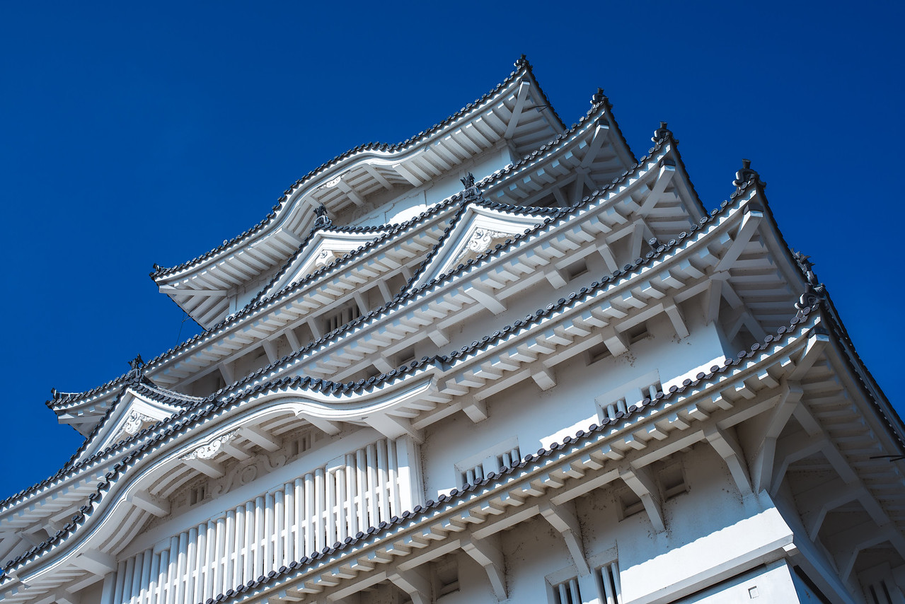 Looking up at Himeji Castle