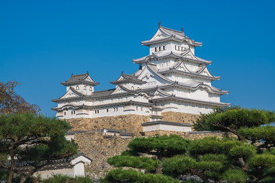 Blue Sky View of Himeji Castle