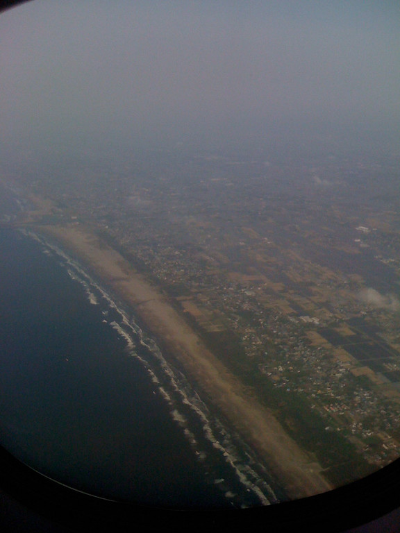 View of Japans coastline from air