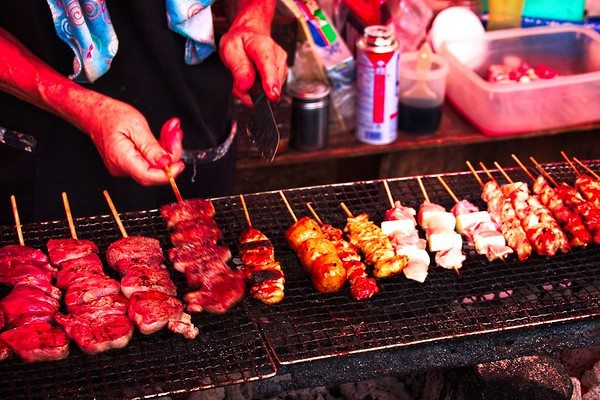 Yakitori (Meet on sticks!) at the Odawara dance festival - Salted Cows Tongue.