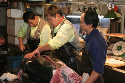 At the Tsukiji Fish Market in Tokyo