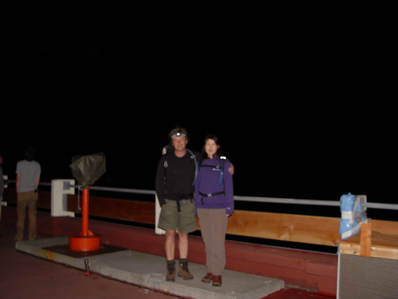Chiyoko & I arrived at the 5th Station of the Fujinomiya trail just before 10:00pm. It had been cloudy and raining lightly the whole way. Yet just before we arrived at the trailhead we broke through the clouds & rain to a beautiful clear and star filled night.