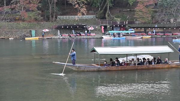 Punt boat on the Hozu river in Arashiyama, Kyoto