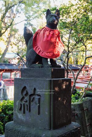 Fox statue at Nezu Shrine, Tokyo