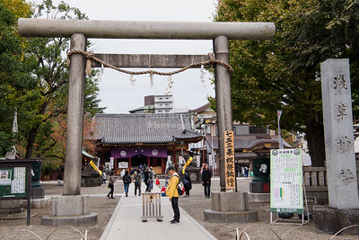 Torri gate at the entrance of the Asakusa Shrine