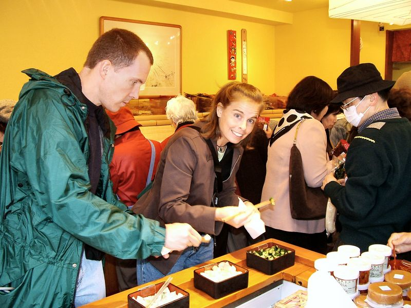 Terry & Carol trying tsukemono (pickled vegetables)