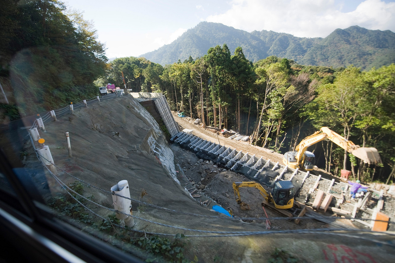The road to the cedar forest is undergoing major reconstruction. The road is only one lane in many places yet the bus driver is clipping right along here.