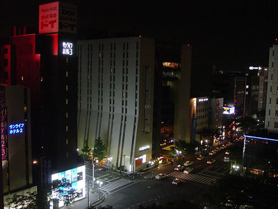 The left-side view from my room at the Hotel Centraza in Fukuoka.