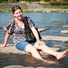At the junction of the two rivers in Kyoto there is this park with stones laid into the river that you can walk between and sit on.  Krista is enjoying one of them now.