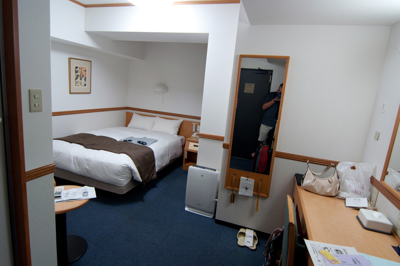 Our hotel room in Kyoto.  Not as nice, or as large, as the room in Tokyo, but free (!!) for two nights with purchase of train tickets.  Not a bad deal.