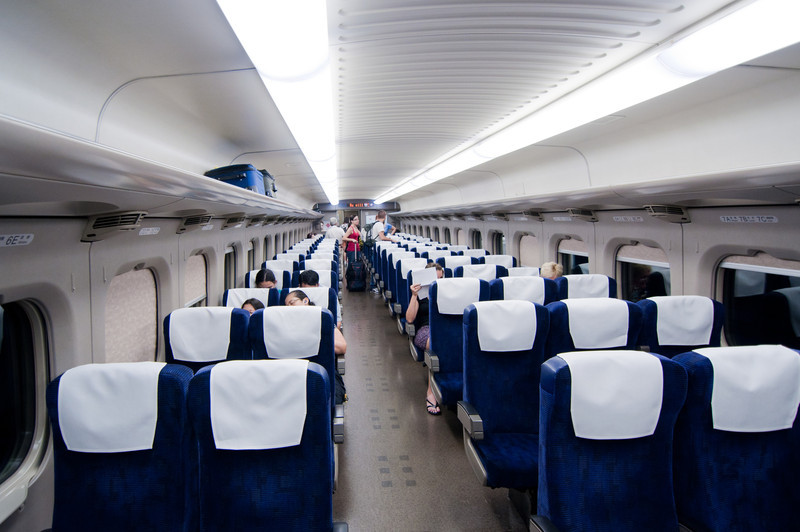The inside of the shinkansen (bullet train).
