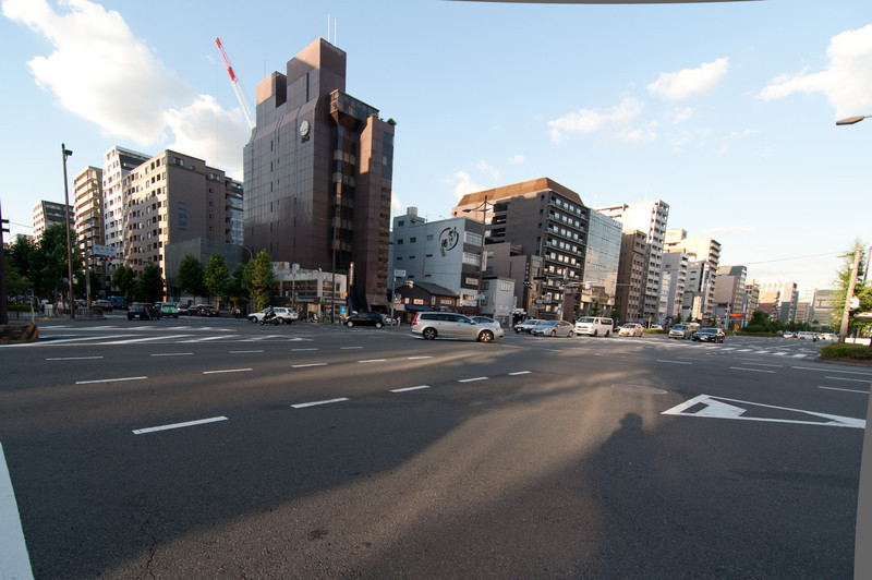 An intersection in Kyoto.  Kyoto is a small city, with a population of approximately 1.5 million people.