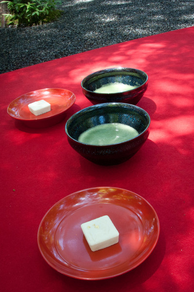 We had (chilled) green tea and tiny sugar cakes outside the golden pavilion.