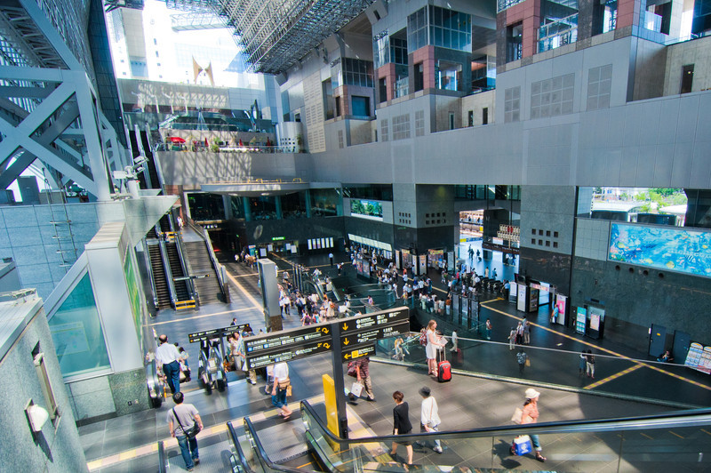 The interior of the main atrium of the Kyoto train station.
