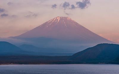 Dusk On Lake Motosu with Mt Fuji