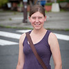 Krista, still in Nikko, squinting in the bright overcast light.