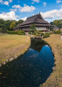 Stream and Old Buildings at Korakuen Garden