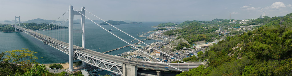 Panorama of Shimotsui and Seto Ohashi Bridge
