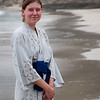 Krista wearing her yukata to the beach: hotel guests were wearing them everywhere.