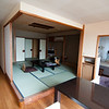 The sleeping and eating area (with tatami mats) of our Japanese-style room in Shimoda at the Shimoda Yamatokan.