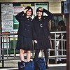 Two girls were eying me curiously as I waited for the train. I gave them a sailor's salute and they saluted back.