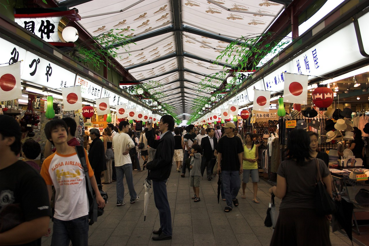 Shopping arcades are popular in Japan where many private vendors come together to serve up food and goods