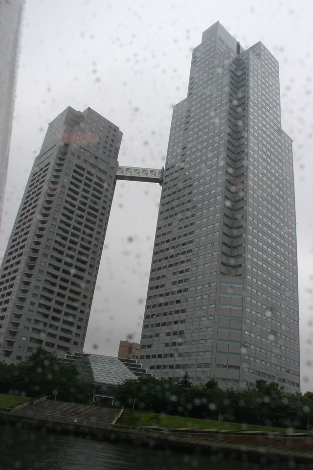 Taking water taxi along Tokyo harbor - some pretty crazy buildings out there