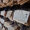 At the Meiji shrine, people can buy wooden placards on which to write their hopes and prayers.  These cards are hung at the shrine on strings.