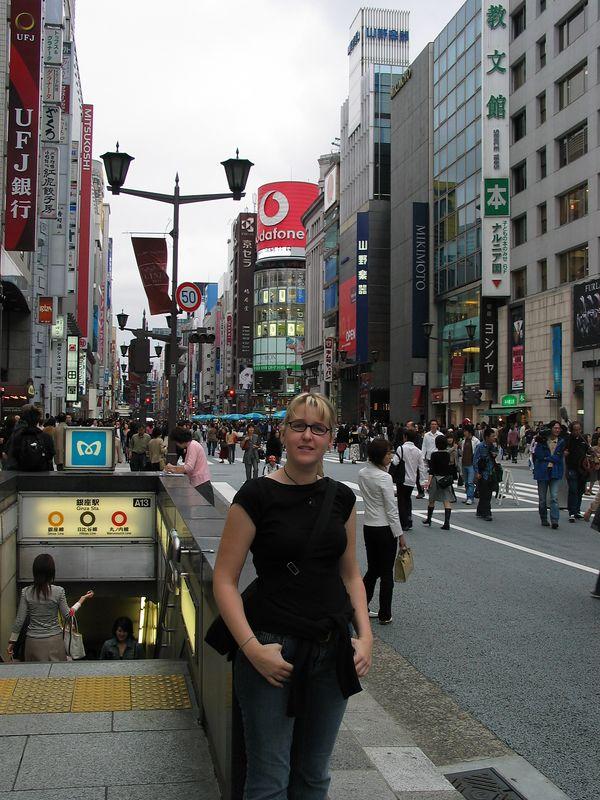 Amanda exiting a subway station at the Ginza district of Tokyo.