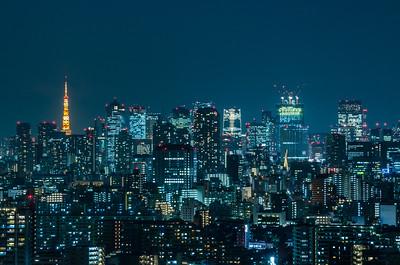 Blue Tokyo Cityscape
