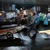 Hand carts are still used in the fish market.