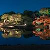 Blue Hour Illumination at Rikugien in Autumn