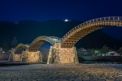 Kintai Bridge And Castle At Blue Hour