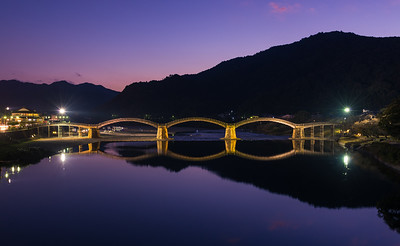 Full View Of The Kintai Bridge At Dusk